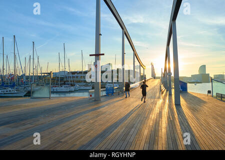 BARCELONA, SPAIN - NOVEMBER 20, 2015: Rambla de Mar in Barcelona in the morning. Barcelona is the capital city of the autonomous community of Cataloni - Stock Photo