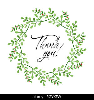 Watercolor wreath with Thank you text. Hand painted branches and flowers. Spring floral elements - Stock Photo