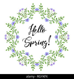 Watercolor wreath with Hello Spring text. Hand painted branches and flowers. Spring floral elements - Stock Photo
