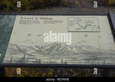 A land in Motion geology information sign on the Denali Highway, Alaska - Stock Photo