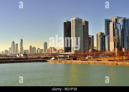 Chicago, Illinois, USA. Portions of the expanding Chicago skyline viewed from Navy Pier reveal mostly residential skyscrapers, - Stock Photo