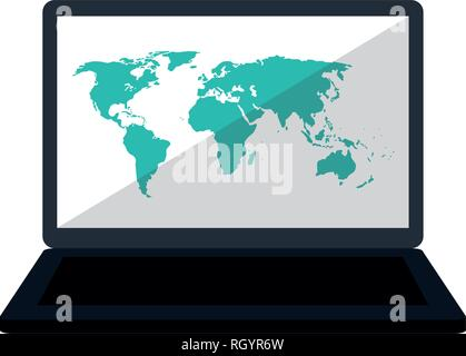 Laptop with world map on screen - Stock Photo