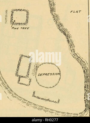 """. Bulletin. Ethnology. HODGH] ANTIQUITIES OF GILA-SALT VALLEYS 65. """"â¢mo,,, '',itm&, """"â """"^^VSTRVm^ Fig. 30. Plan of ruin no. 80, Spur ranch. under a high cliff at the top of the talus. Hardly any walls remain above the debris and large masses of rock have fallen into some of the houses. Some wooden posts stand in the ruins. Excavations were made here by R. M. G. Dill, esq., a number of years ago, and in 1004 by the writer. On the smooth cliff face are pictographs in red, the subjects depicted be- ing among others the sun and the mountain lion. (PI. iv, b.) No. 79. Pueblo.âOn - Stock Photo"""