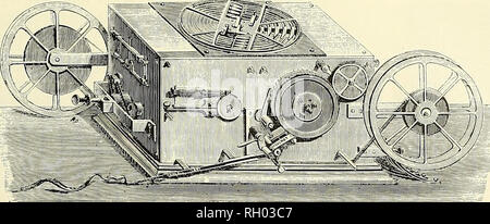 . Bulletin. Science. Figure 53.—One of the Baudot multiplex receivers, showing the distributor commutator on top of the case. From La Lumiere electrique, 1882, vol. 6, p. 128.. Please note that these images are extracted from scanned page images that may have been digitally enhanced for readability - coloration and appearance of these illustrations may not perfectly resemble the original work.. Smithsonian Institution; United States. Dept. of the Interior; United States National Museum. Washington, Smithsonian Institution Press, [etc. ]; for sale by the Supt. of Docs. , U. S. Govt Print. Off - Stock Photo
