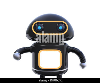 Front view of black cute robot isolated on white background. 3D rendering image. - Stock Photo