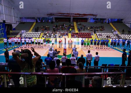 Rio De Janeiro, Brazil. 30th Jan, 2019. set game after losing two sets to zero. Credit: Lorando Labbe/FotoArena/Alamy Live News - Stock Photo