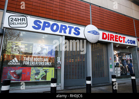 United Kingdom. 31st Jan, 2019. A general view of Sports Direct store in London. The Environmental Audit Committee led by Labour MP Mary Creagh has reported that retailer such as Sports Direct are 'failing to take action'' to reduce their environmental impact. Credit: Dinendra Haria/SOPA Images/ZUMA Wire/Alamy Live News - Stock Photo