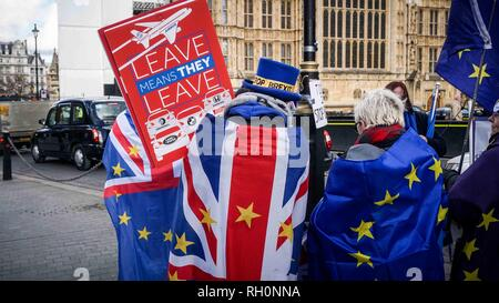 London, UK. 30th Jan, 2019. Anti-Brexit campaigners are seen wrapped with flags during the protest.Anti-Brexit campaigner's protest outside the Houses of Parliament as Theresa May meets the EU leaders on 13th of February if there is no deal, British Prime Minister will start an amendable motion for the debate on 14th of February with discussion to move forward with the brexit. Credit: Ioannis Alexopoulos/SOPA Images/ZUMA Wire/Alamy Live News - Stock Photo