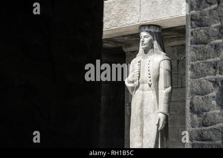Sculpture outside of the Mausoleum of Petar Petrovic Njegos, Lovcen National Park, Montenegro - Stock Photo