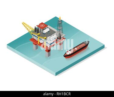 Oil extraction platform and oil tanker: petrochemical industry concept - Stock Photo