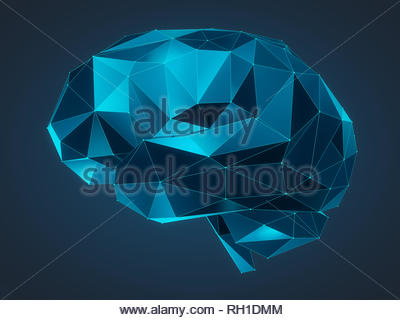 3d Illustration of a human brain consisting of lines and polygon shapes - Stock Photo