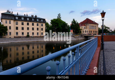 View on the islands (Slodowa) in Wroclaw, Poland - Stock Photo