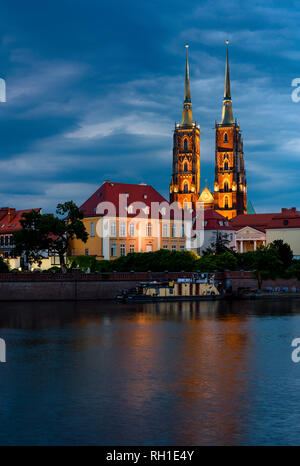 Night view on Wroclaw Cathedral (Cathedral of St. John the Baptist), Gothic style church on Ostrow Tumski Island in Wroclaw in Poland - Stock Photo