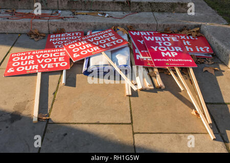 Anti-Brexit protesters in Abingdon Street, opposite the Houses of Parliament, London, UK. - Stock Photo