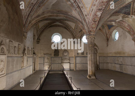 Italy, Florence - April 02 2017: the view of the cloister of the dead or underground cemetery of Santa Maria Novella Church on April 02 2017, Tuscany. - Stock Photo