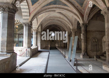 Italy, Florence - April 02 2017: the view of the cloister of the dead is an underground cemetery of Santa Maria Novella Church inside on April 02 2017 - Stock Photo