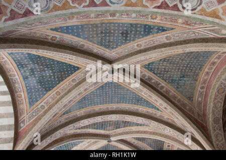 Italy, Florence - April 02 2017: the view of ceiling of Cloister of the dead, underground cemetery of Basilica Santa Maria Novella inside. - Stock Photo