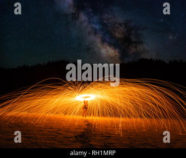 Long exposure photography with steel wool and milky way - Stock Photo