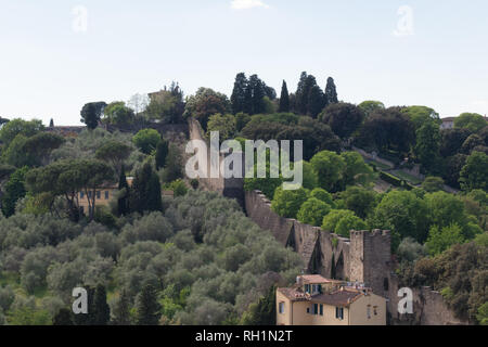 Italy, Florence - April 30 2017: the view of defence wall fragment in Oltrarno area in Florence on April 30 2017, Tuscany, Italy.