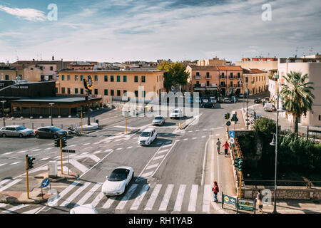 Terracina, Italy - October 15, 2018: Top View Of Gregorio Antonelli Street In Sunny Day - Stock Photo