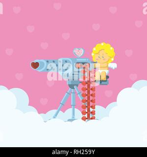 Cupid aiming a heavy machine gun with heart shaped arrow bullets on cloud with hearts background in flat cartoon style - Stock Photo