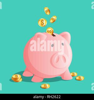 Pink piggy bank icon, moneybox with cold coins - Stock Photo