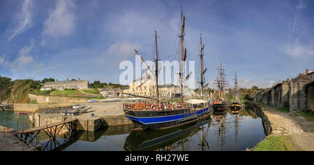 Tall Ships in Charlestown Harbour, Cornwall. Location for the filming of the television series Poldark. - Stock Photo
