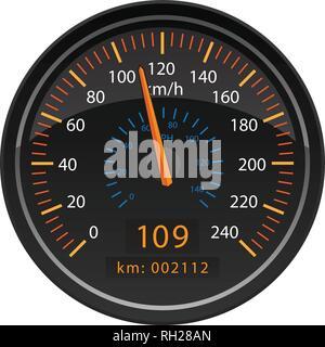 KMH Kilometers per Hour Speedometer Odometer Automotive Dashboard Gauge Vector Illustration - Stock Photo