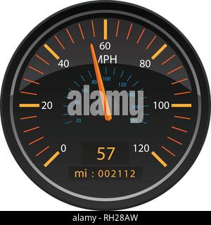 MPH Miles per Hour Speedometer Odometer Automotive Dashboard Gauge Vector Illustration - Stock Photo