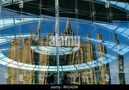 st peter mancroft church reflected in the forum building, norwich, norfolk, england