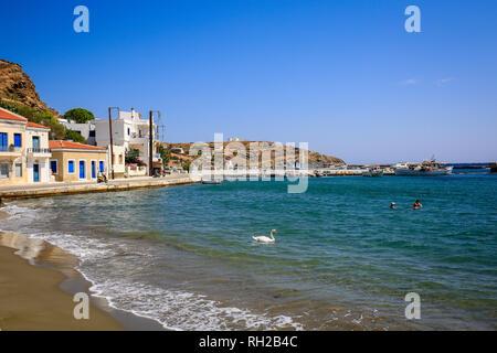 Ormos Korthiou, Andros Island, Cyclades, Greece - Beach in the fishing village of Ormos Korthiou.  Ormos Korthiou, Insel Andros, Kykladen, Griechenlan - Stock Photo
