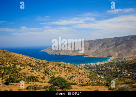 Ormos Korthiou, Andros Island, Cyclades, Greece - coastal landscape with the fishing village of Ormos Korthiou.  Ormos Korthiou, Insel Andros, Kyklade - Stock Photo