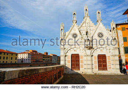 Pisa, Italy - August 21, 2014: Small wall and the - Stock Photo
