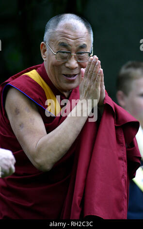 His Holiness the Dalai Lama pictured blessing the crowds at a special ceremony in Pittencrieff Park, Dunfermline during his week-long visit to the United Kingdom, his first for five years, which ends today. - Stock Photo