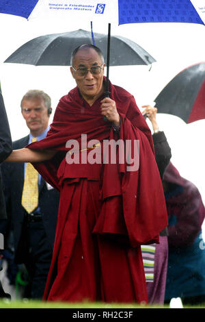 His Holiness the Dalai Lama pictured arriving at a special ceremony at Dunfermline Abbey during his week-long visit to the United Kingdom, his first for five years, which ends today. - Stock Photo