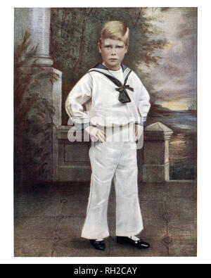 Prince Edward of York, later King Edward VIII, as a young boy dressed in a sailor suit. Was King of the United Kingdom and the Dominions of the British Empire, and Emperor of India, from 20 January 1936 until his abdication on 11 December the same year, after which he became the Duke of Windsor. - Stock Photo