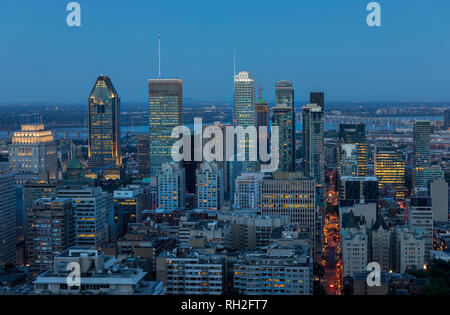 Montreal downtown in the evening, view from Kondiaronk Belvedere, Quebec, Canada - Stock Photo