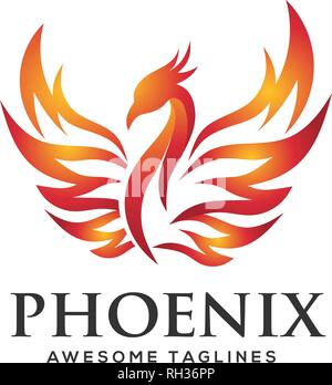 luxury phoenix logo concept, best phoenix bird logo design - Stock Photo