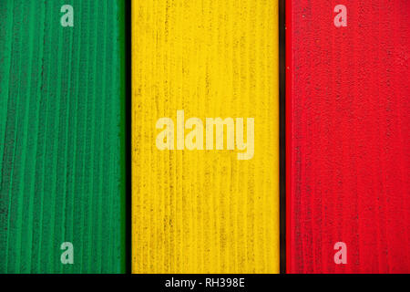 Multi colored wooden planks painted with vivid colors - Stock Photo