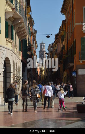 Lamberti Tower View From Via Dietro Amphitheater In Verona. Travel, holidays, architecture. March 30, 2015. Verona, Veneto region, Italy. - Stock Photo