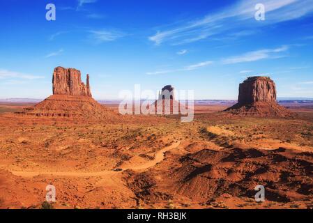 Monument Valley on the border between Arizona and Utah, USA - Stock Photo