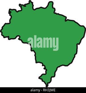 brazilian map isolated icon - Stock Photo