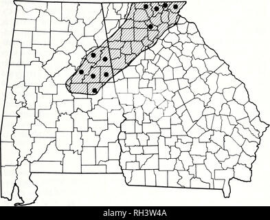 . Brimleyana. Zoology; Ecology; Natural history. Wood Frog Life History 35. Fig. 2. Distribution of Rana sylvatica at the southern terminus of its range. Solid circles indicate counties (not localities) in Georgia and Alabama where specimens have been taken. Presumed range is indicated by hatching (see expla- nation in text). latifolia, Saururus cernuus, Sparganium americanum, and Ranunculus sp. were the most common plants in these situations. Alnus serrulata, Quercus spp., and Cornus spp. were usually present along the edges of the pond or in shallow water. A fairly consistent assemblage of b - Stock Photo