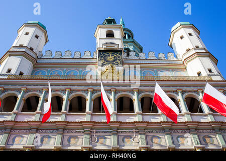 Facade of beautiful Town Hall located on Old Town Square in Poznan - Stock Photo