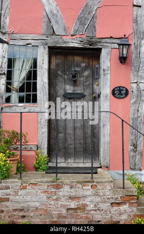 Front door of a timber-framed house in Lavenham, Suffolk - Stock Photo
