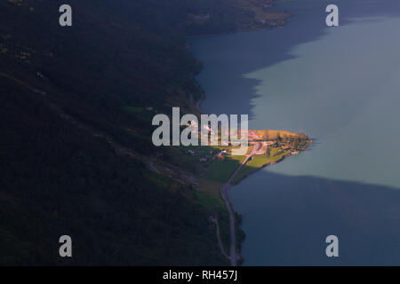 Briksdalsbreen valley from the air, at the municipality of Stryn in Norway. - Stock Photo