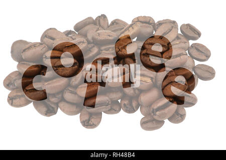 Soft background with brown coffee beans with highlighted lettering Coffee - Stock Photo