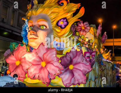 A float rolls down St. Charles Avenue at the Krewe of Hermes Mardi Gras parade at Lee Circle, Feb. 28, 2014, in New Orleans, Louisiana. - Stock Photo