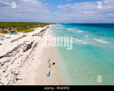 Low aerial view of Playa San Martin beach on the east side of Cozumel, Mexico. - Stock Photo