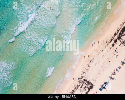 Aerial straight down view of beach on Cozumel, Mexico. - Stock Photo